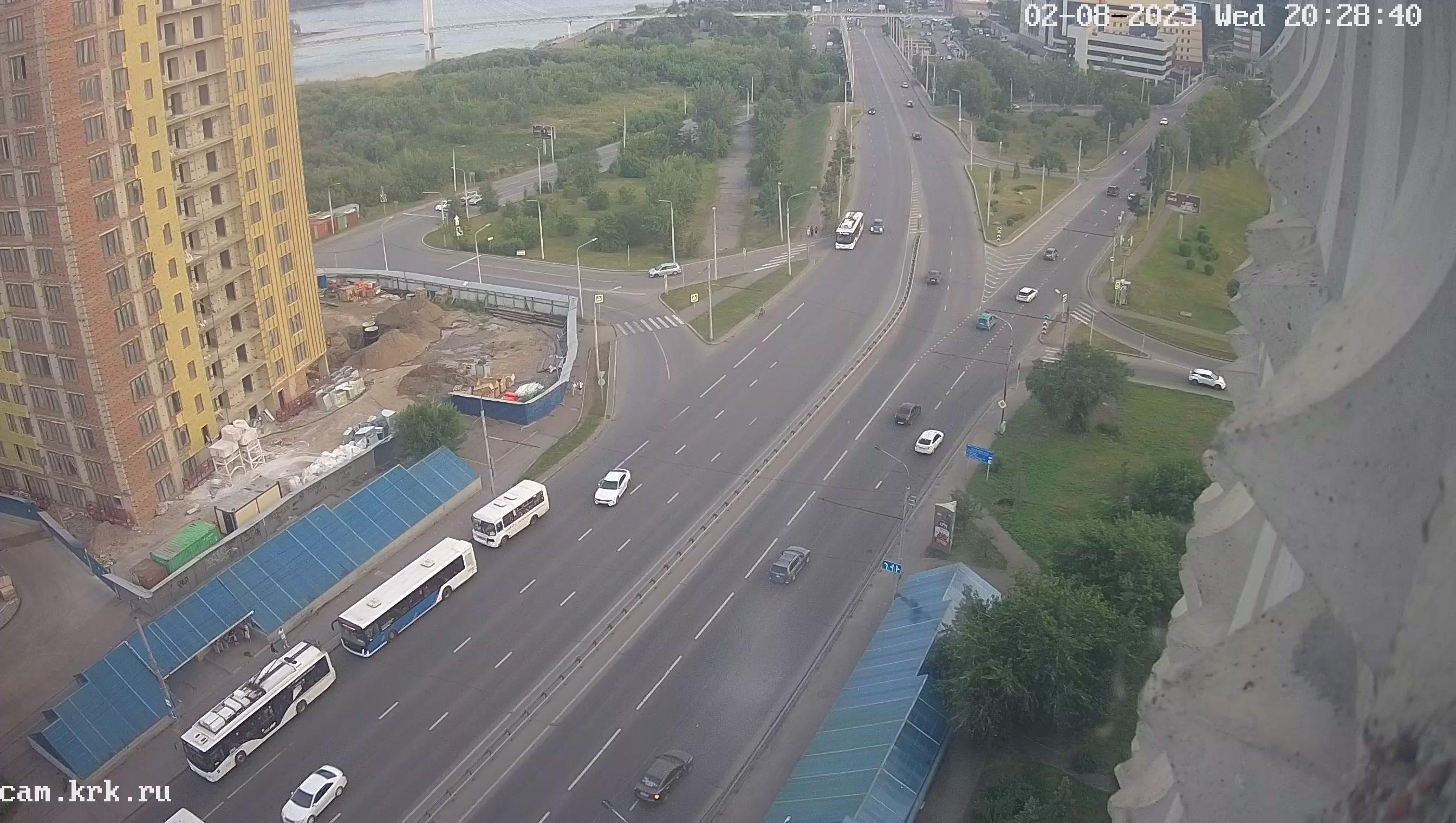 Веб камера Красноярск Виноградовский мост, улица Белинского